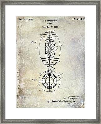1925 Football Patent Drawing Framed Print by Jon Neidert
