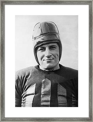Football Player Portrait Framed Print by Underwood Archives