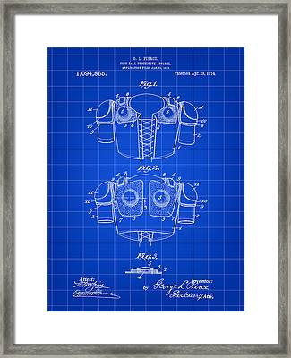 Football Shoulder Pads Patent 1913 - Blue Framed Print by Stephen Younts