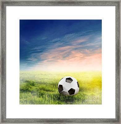 Football Soccer Ball On Green Grass Framed Print