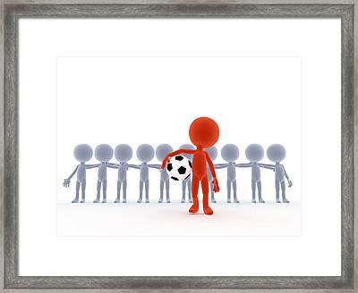 Football Soccer Team Leader With Ball Framed Print