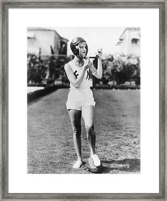 Football Time Out For Makeup Framed Print by Underwood Archives