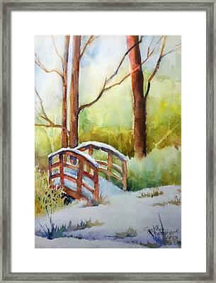 Footbridge At Goosehaven In Lafayette Colorado Framed Print by Cynthia Roudebush