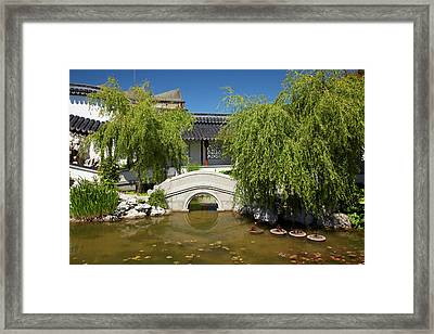 Footbridge, Chinese Gardens, Dunedin Framed Print by David Wall