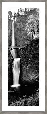 Footbridge In Front Of A Waterfall Framed Print by Panoramic Images