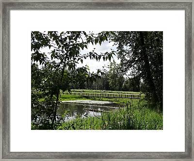 Footbridge To The Steamboat Landing Framed Print by Lizbeth Bostrom