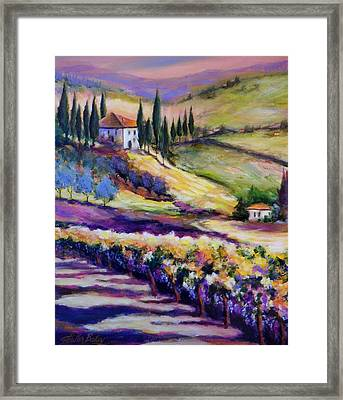 Foothills Vines And Olives Of Tuscany  Sold Framed Print by Therese Fowler-Bailey