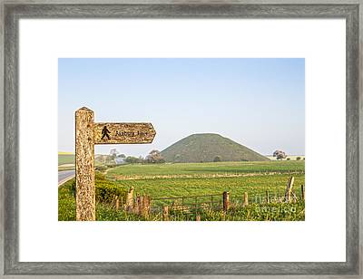 Footpath Signpost To Avebury Near Silbury Hill Framed Print by Colin and Linda McKie