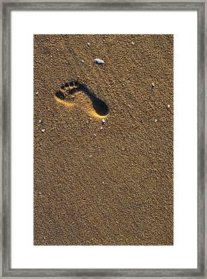 Footprint On Beach Framed Print