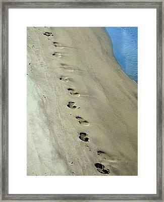 Footprints At Breech Inlet Framed Print