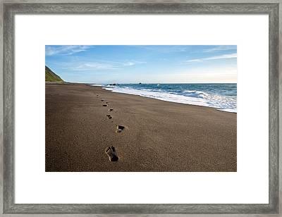 Footprints In Sand Framed Print