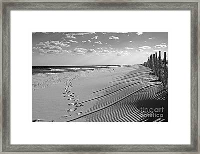 Framed Print featuring the photograph Footprints In The Sand by Debra Fedchin
