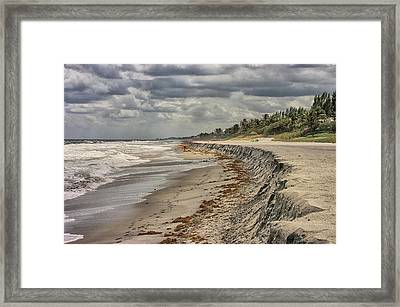 Footprints In The Sand Framed Print by Dennis Baswell