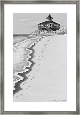 Framed Print featuring the digital art Footprints On Boca Beach by Carol Jacobs