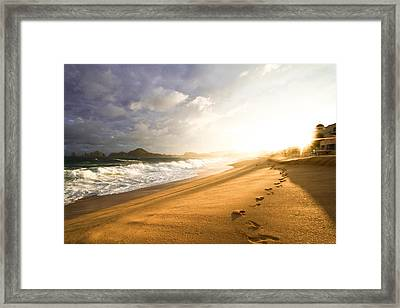 Framed Print featuring the photograph Footsteps In The Sand by Eti Reid