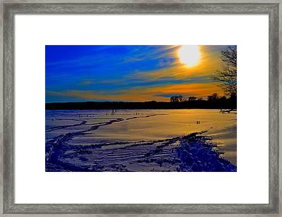 Footsteps On Lake Framed Print