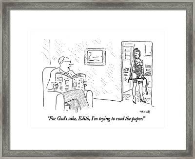 For God's Sake Framed Print by Robert Mankoff