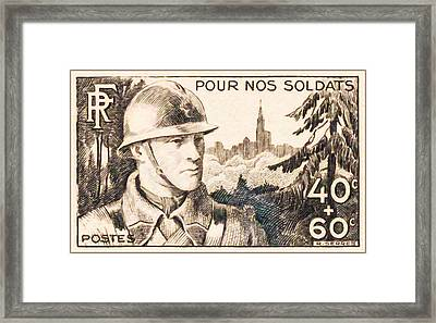 For Our Soldiers Stamp Framed Print by Lanjee Chee