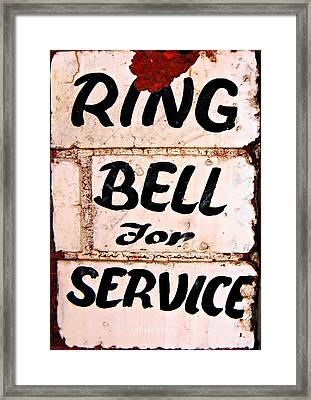 Ring Bell For Service Framed Print by Chris Berry
