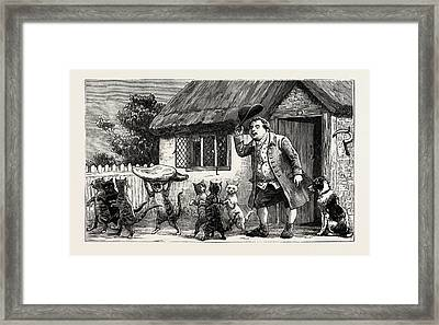 For The Care Of His Lamb, And Their Comical Pranks Framed Print by English School