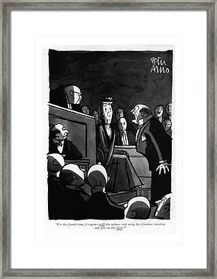 For The Fourth Time Framed Print by Peter Arno