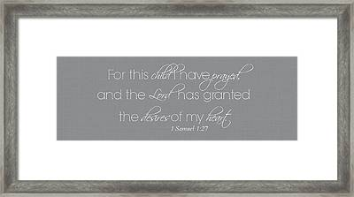 For This Child I Have Prayed Whole Verse Small Framed Print by Chastity Hoff