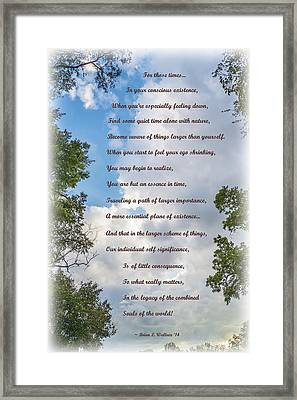 For Those Times Framed Print