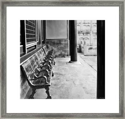 Forbidden City - Benches Framed Print by Nicola Nobile