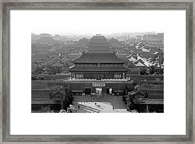 Forbidden City - Black And White - Beijing China Framed Print