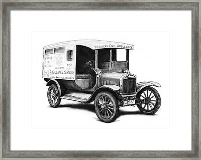Ford 1923 Civil Ambulance Car Drawing Poster Framed Print