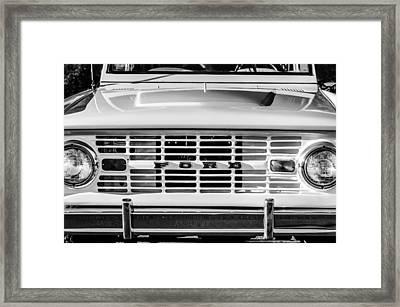 Ford Bronco Grille Emblem -0014bw Framed Print