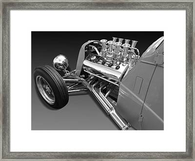 Ford Coupe Hot Rod Engine In Black And White Framed Print by Gill Billington
