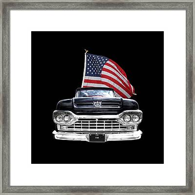 Ford F100 With U.s.flag On Black Framed Print