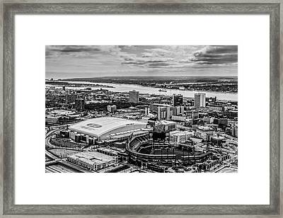 Ford Field And Comerica Park Framed Print by Cindy Lindow
