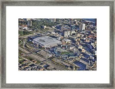 Ford Field Comerica Park From Twenty Five Hundred Feet Framed Print