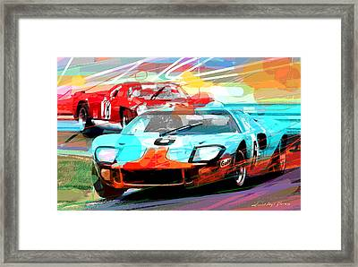 Ford Gt 40 Leads The Pack Framed Print by David Lloyd Glover