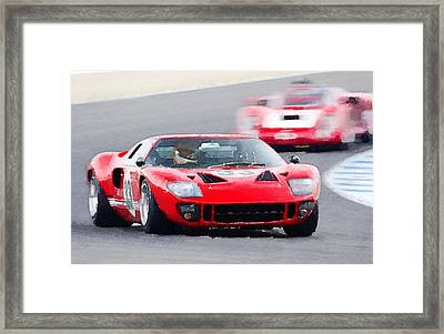 Ford Gt40 Race In Monterey Watercolor Framed Print by Naxart Studio