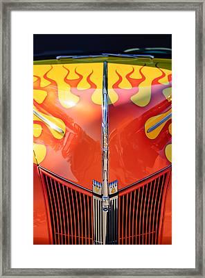 Ford Hot Rod Flamed Hood -264c Framed Print by Jill Reger
