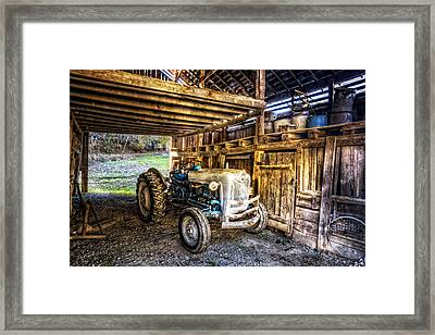 Ford In The Barn Framed Print by Debra and Dave Vanderlaan