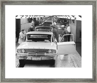 Ford Motor Assembly Plant Framed Print by Underwood Archives