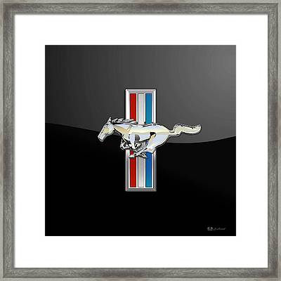 Ford Mustang - Tri Bar And Pony 3 D Badge On Black Framed Print by Serge Averbukh