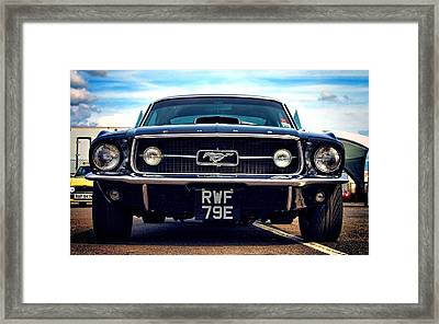 Ford Mustang Black And Old Framed Print by Art Work
