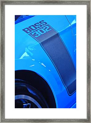 Ford Mustang Boss 302 Emblem Framed Print by Jill Reger