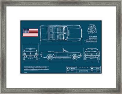 Ford Mustang Convert Blueplanprint Framed Print