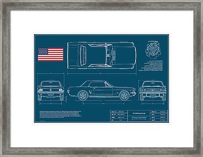 Ford Mustang Coupe Blueplanprint Framed Print by Douglas Switzer