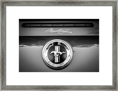 Ford Mustang Gas Cap Emblem -0002bw Framed Print