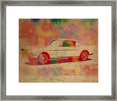 Ford Mustang Watercolor Portrait On Worn Distressed Canvas Framed Print by Design Turnpike