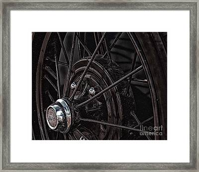 Framed Print featuring the photograph Ford Spoke Wheel by JRP Photography