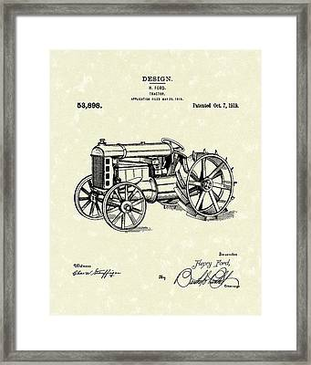 Ford Tractor 1919 Patent Art Framed Print by Prior Art Design