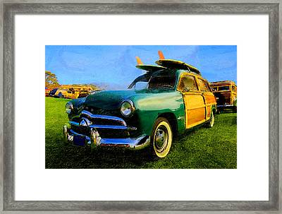 Ford Woodie With Longboards Framed Print by Ron Regalado